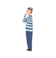 Thoughtful male prisoner character in striped vector