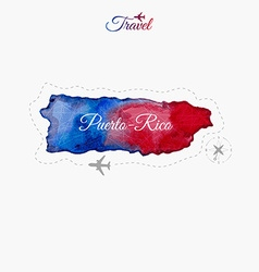 Travel around the world Puerto-Rico Watercolor map vector