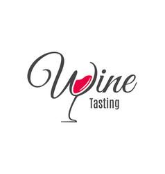 wine lettering logo glass red wine design vector image