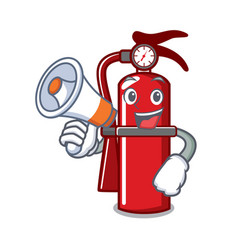 With megaphone fire extinguisher character cartoon vector