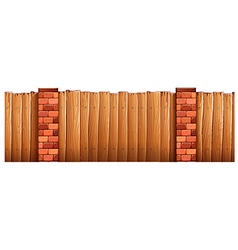 Wooden fence and brick poles vector