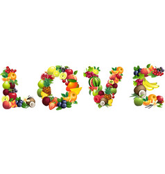Word love composed different fruits with leaves vector
