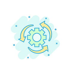 Workflow process icon in comic style gear cog vector