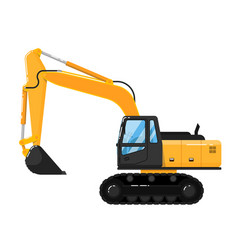 Yellow excavator isolated on white background vector