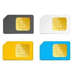 four sim cards black white blue yellow vector image vector image