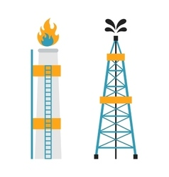 Gas rig station and oil recovery platform flat vector image