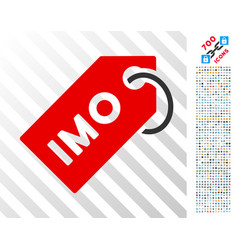 Imo tag flat icon with bonus vector