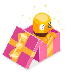 isometric 3d cute cartoon baby yellow dog cub gift vector image vector image