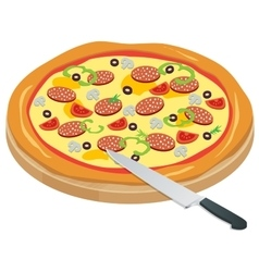 Italy Pizza on the chalkboard with the ingredients vector image