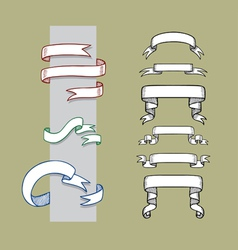 Ribbon Banner and Label Sketches 1 vector image vector image