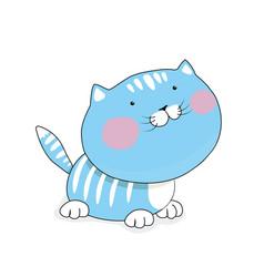 cat cartoon is flat blue kitten vector image