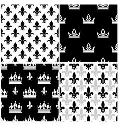 crowns and fleur de lis seamless patterns vector image vector image