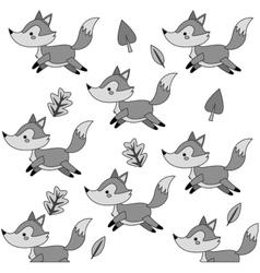 cute fox cartoon pattern background vector image