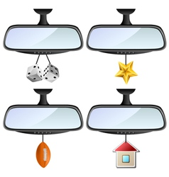 Car mirror set with different decorations vector image vector image