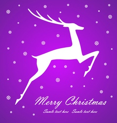 Christmas deer on violet background vector image vector image