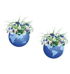 globe and flowers vector image vector image