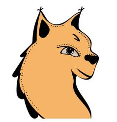 lynx cute funny cartoon head vector image vector image