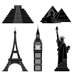 world landmarks eiffel tower statue of liberty vector image vector image