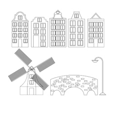 Amsterdam city flat line art Travel landmark vector image vector image