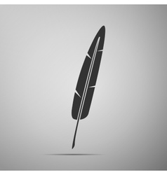 Feather pen flat icon on grey background Adobe vector image vector image