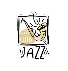 jazz logo design vintage music label element for vector image