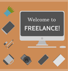 welcome to freelance desktop creative elements 4 vector image