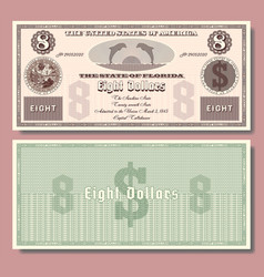 8 fictional us banknote dedicated to florida vector