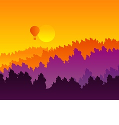 Abstract sunset silhouette mountain scenery vector