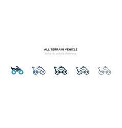 All terrain vehicle icon in different style two vector
