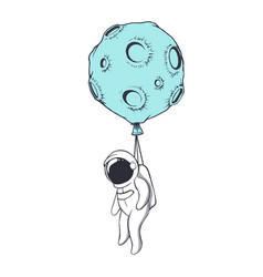 astronaut is tied to the moon vector image