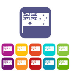 Australian flag icons set flat vector