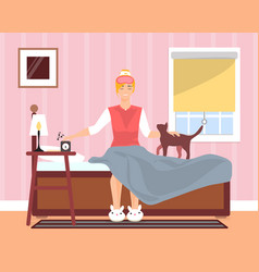 Awaking in good mood young girl flat vector