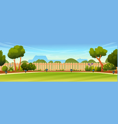 backyard with fence green trees and bushes lamps vector image