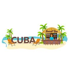 Beach bar cuba travel palm drink summer vector