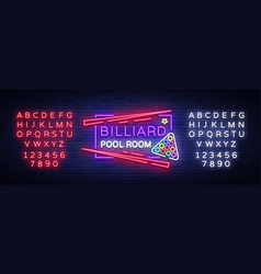 Billiard club neon sign billiard pool room design vector