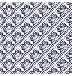 Blue damask seamless pattern backdrop vector