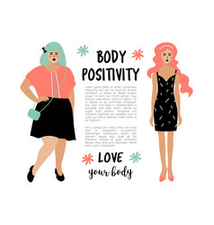 Body positive card model plus size woman and vector