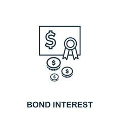 Bond interest icon outline style thin line vector