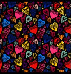 bright cartoon seamless pattern with hearts vector image