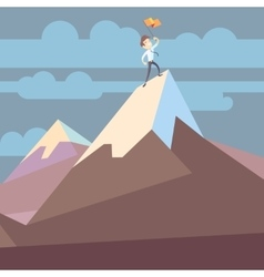 Businessman holding flag on mountain peak success vector