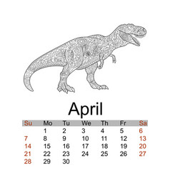 calendar april month 2019 antistress coloring of vector image