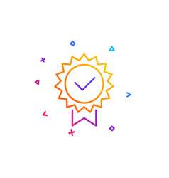 Certificate line icon verified award sign vector