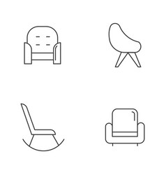 Chair variety linear icons set vector