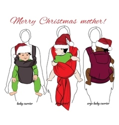 Children with mothers into baby carrier and sling vector