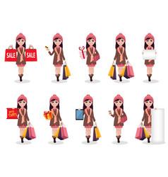 Christmas shopping beautiful girl vector