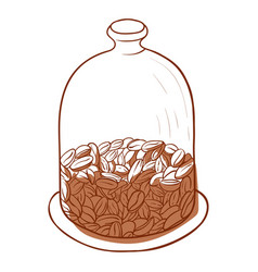 coffee beans in a close jar glass container vector image