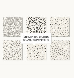 Collection seamless memphis patterns cards vector