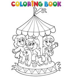 Coloring book carousel theme 1 vector