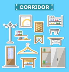 Corridor furniture icon set in flat style vector