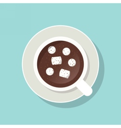 Cup of cacao with marshmallows and ground cinnamon vector